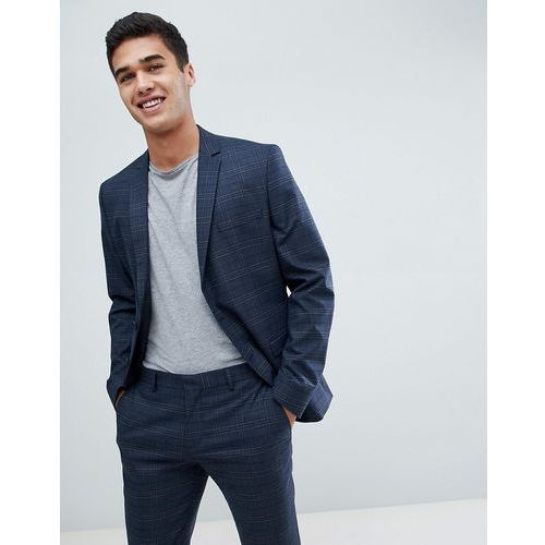 skinny suit jacket in navy check with stretch - navy, Selected homme
