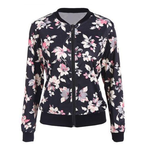 Floral print zip up bomber jacket marki Rosewholesale