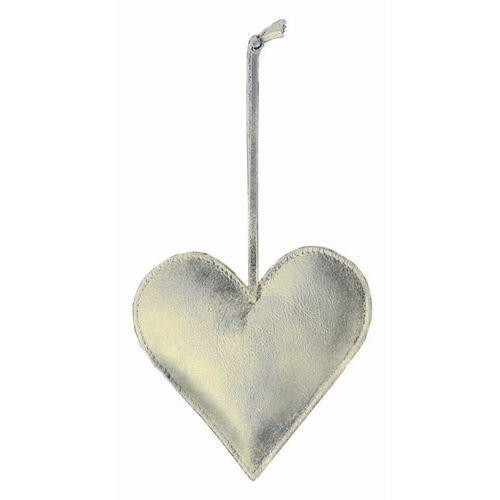 Philippi - Ozdoba choinkowa ze skóry - serce - srebrno-złote (4037846162100)