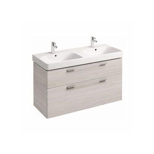 KOŁO szafka + umywalka podwójna Traffic 120 jesion bielony 89506-000+L91521000, kolor biały