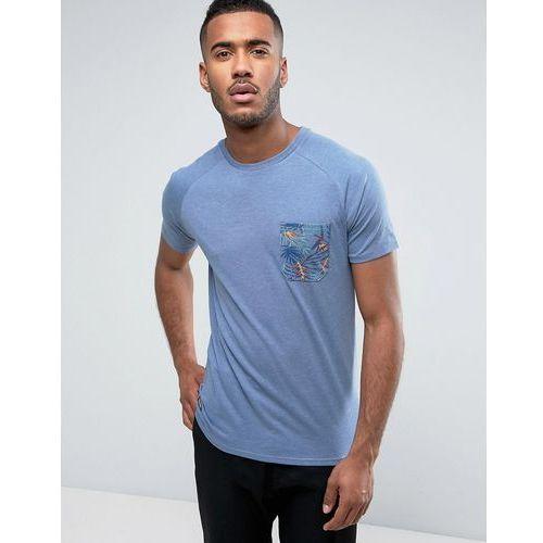 Threadbare Tropical Contrast Pocket T-Shirt - Blue, 1 rozmiar