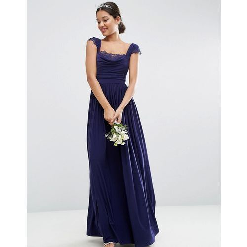 wedding lace insert cowl maxi dress - navy, Asos