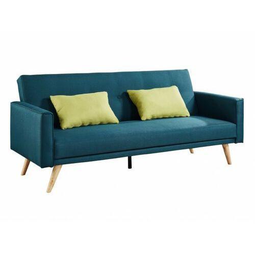 Rozkładana 3-osobowa sofa DARVEL — z tkaniny — kolor morski — z poduszkami w kolorze czerwonym, kolor zielony