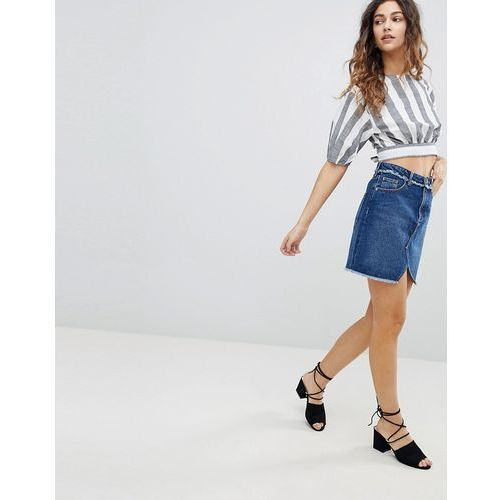 Miss Selfridge Fray Waist Denim Skirt - Blue