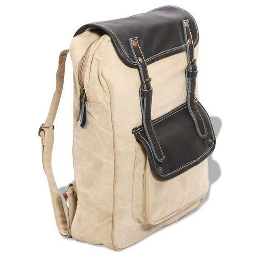 Vidaxl plecak płócienno-skórzany beżowy (8718475510253)