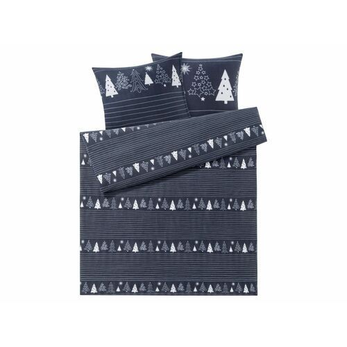 Meradiso® pościel polarowa 220 x 200 cm, 1 komplet (choinka/granatowy) (4056233604658)
