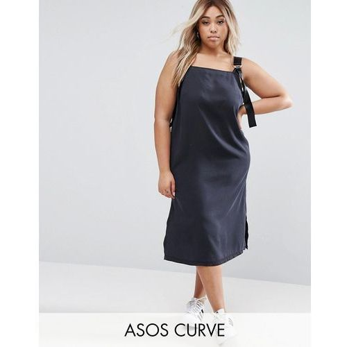 ASOS CURVE Denim Slip Dress in Washed Black With D- Rings - Black z kategorii Pozostałe