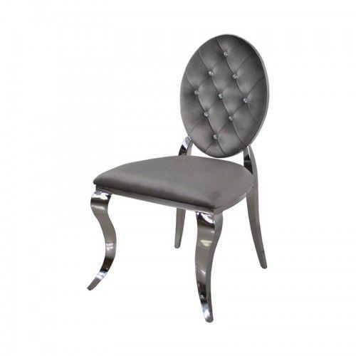 Krzesło Ludwik II glamour Dark Grey - nowoczesne krzesła pikowane kryształkami (5908273392370)