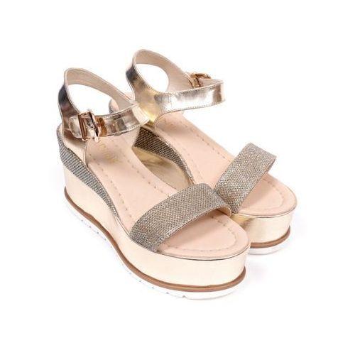 Sandały damskie  b3646/0-g25 lucerna 2 venus 1698 platyna/beż 36 platynowy marki Carinii
