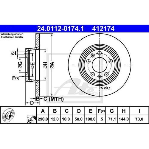 TARCZA HAM ATE 24.0112-0174.1 PEUGEOT 407 COUPE 2.0HDI 10-, ATE 24.0112-0174.1