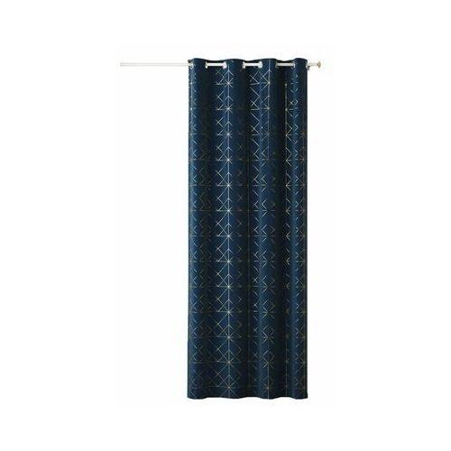 Action Zasłona glammy niebieska 140 x 250 cm na przelotkach