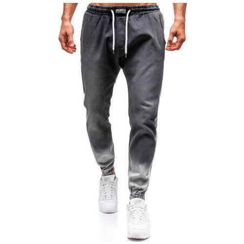 Spodnie jeansowe joggery męskie antracytowe denley 2047 marki Otantik
