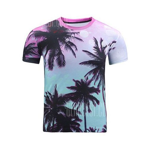 3d ombre trees print round neck short sleeve t-shirt for men, Gearbest