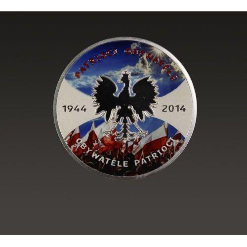 Srebrna moneta Patrioci 1944 Obywatele 2014 - malowana jednostronnie