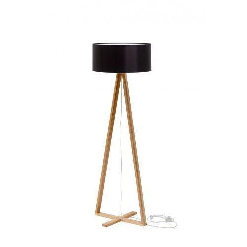 Lampa stojąca z abażurem drewniana, podstawa trójkątna RAGABA TALES jesionowy - kolor abażura czarny