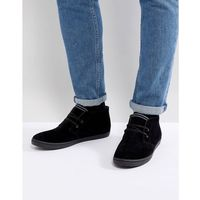 Fred Perry Byron Mis Suede Shoes In Black - Black
