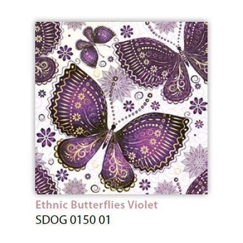 Serwetki 33 x 33 cm SDOG 015001 Fioletowe motyle