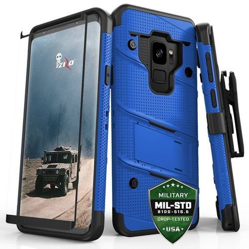 Zizo Bolt Cover - Pancerne etui Samsung Galaxy S9 ze szkłem 9H na ekran + podstawka & uchwyt do paska (Blue/Black), kolor czarny
