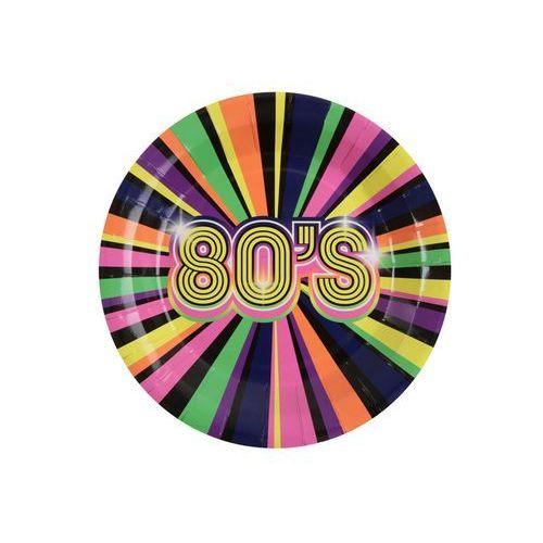 Talerzyki papierowe 80's lata 80-te - 22,5 cm - 10 szt. marki Santex