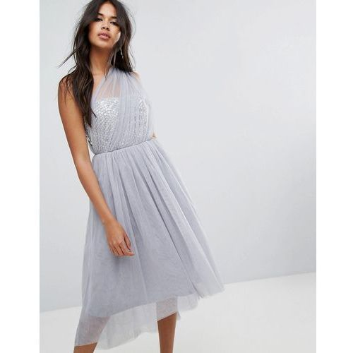 premium crystal bodice tulle one shoulder midi prom dress - grey, Asos