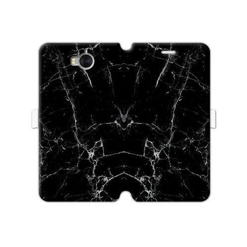 Huawei y6 (2017) - etui na telefon wallet book fantastic - czarny marmur marki Etuo wallet book fantastic