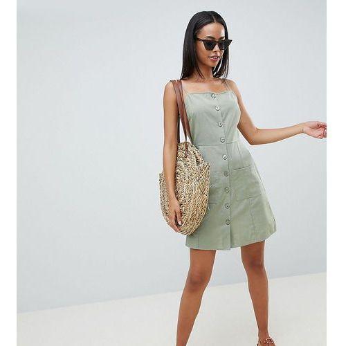 Asos design tall button through linen mini sundress - green marki Asos tall