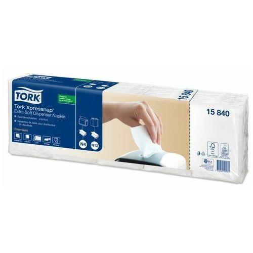 Ekstra miękkie białe serwetki dyspenserowe Tork Xpressnap®, składane w 1/4 (7322540539974)