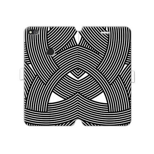 Huawei p9 lite (2017) - etui na telefon wallet book fantastic - biało-czarna mozaika marki Etuo wallet book fantastic