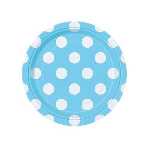 Talerzyki urodzinowe błękitne w białe kropki - 18 cm - 8 szt.