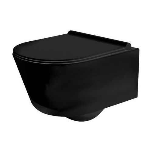 Rea Porter miska wc wisząca czarna rimless + deska wolnoopadająca (5902557341245)