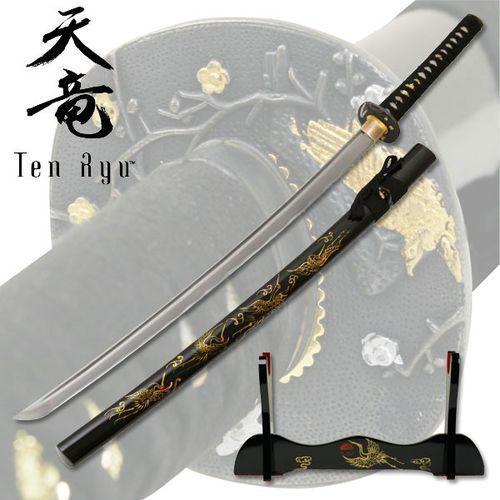 Wspaniały miecz samurajski, katana ręcznie kuta ze stojakiem żuraw (tr-012) marki Płatnerze hiszpańscy