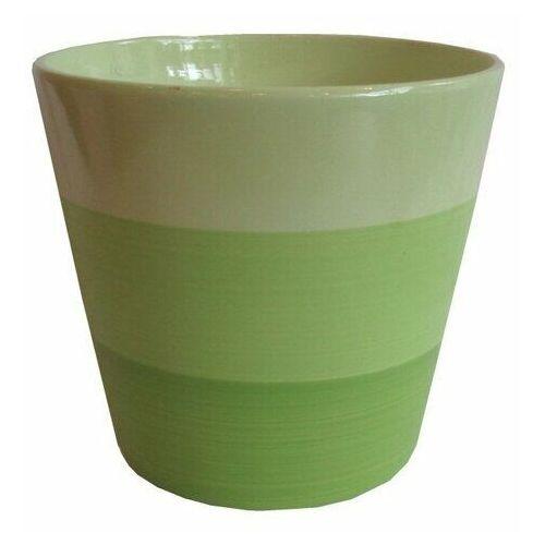 Osłonka ceramiczna na doniczkę stripes zielona, śr. 13,5 cm marki 4-home