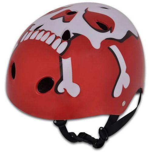 Vidaxl  kask ochronny do jazdy na bmx, czerwony ze wzorem, l 58 - 61 cm