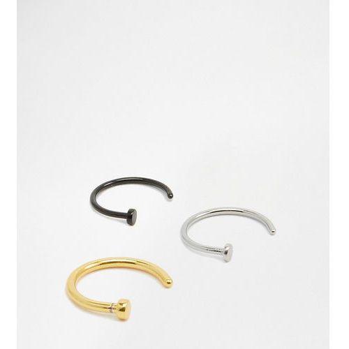 Designb open nose hoop ring in 3 pack - silver marki Designb london