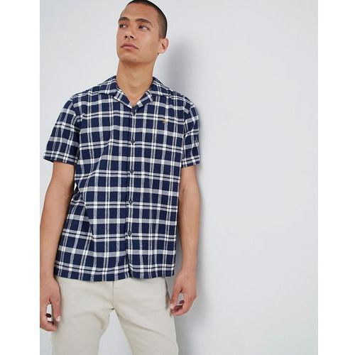 Farah prestwich check revere collar short sleeve shirt in navy - navy