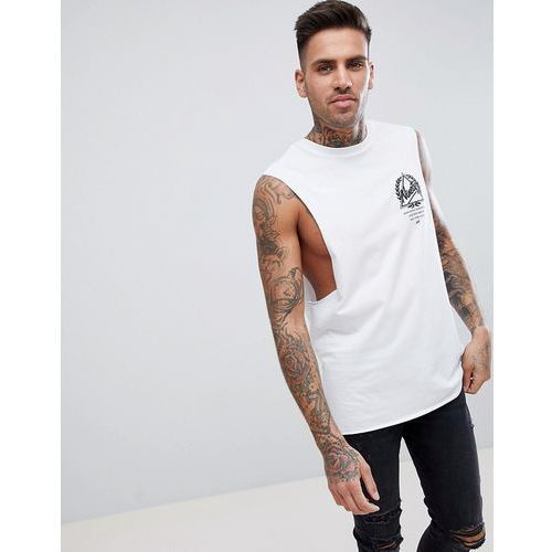 River Island Sleeveless T-Shirt With Dropped Armhole And Print In White - White