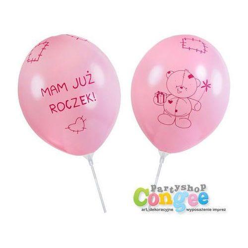 Balon na patyku różowy z nadrukiem