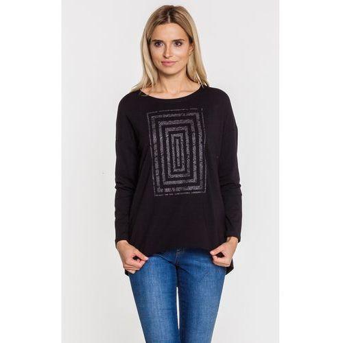 Czarna bluzka z geometrycznym wzorem z cekinów - STUDIO MODY PDB, kolor czarny