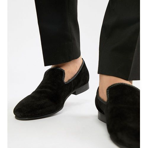 Dune Wide Fit Suede Slipper Loafers Black Suede - Black