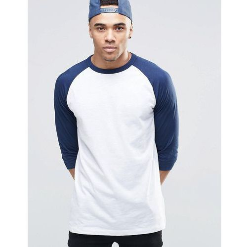 raglan t-shirt in navy blue with 3/4 length sleeves - navy wyprodukowany przez New look