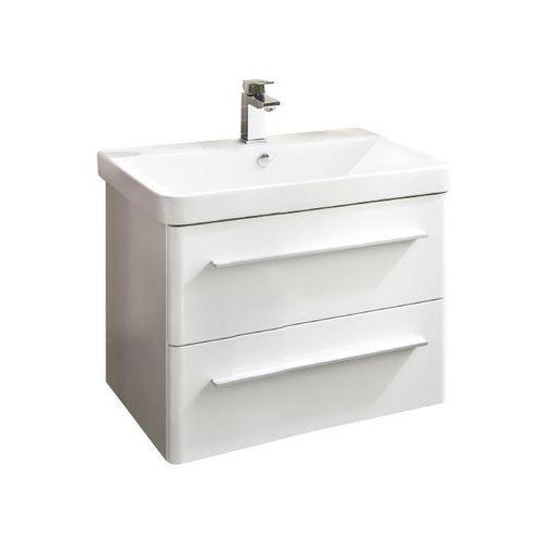 k8 szafka z umywalką ceramiczną 60 cm biała - 60 cm \ biały wysoki połysk marki Lanzet
