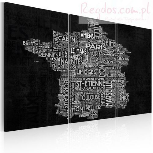 Artgeist Obraz - text map of france on the black background - triptych
