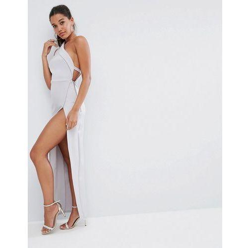 one shoulder maxi dress with exposed zip - grey, Asos