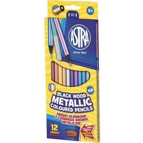 Astra papiernicze Kredki 12 kolorów okrągłe metaliczne