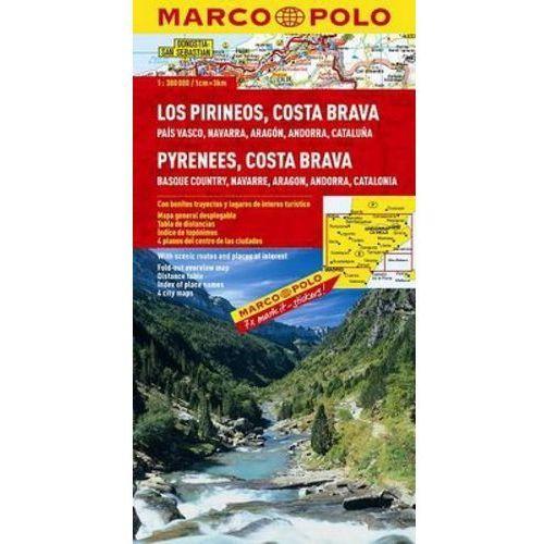 Hiszpania. Pireneje, Costa Brava 1:300 000. Mapa samochodowa, składana. Marco Polo, praca zbiorowa
