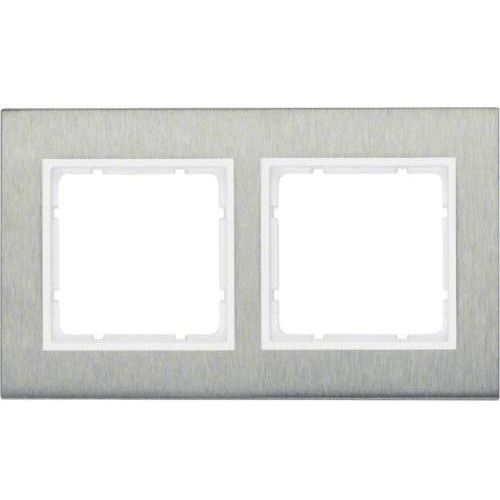 b.7 ramka 2-krotna pozioma, stal szlachetna/biały mat 10223609 marki Berker