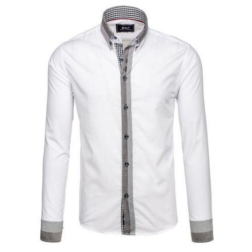 Biała koszula męska elegancka z długim rękawem Bolf 6950 - BIAŁY, koszula męska BOLF