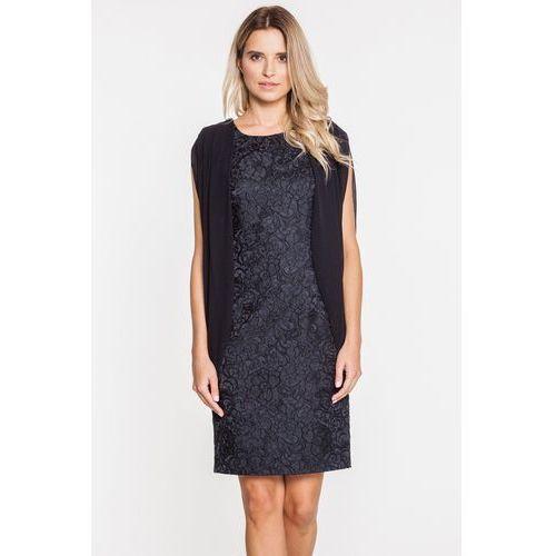 Żarakardowa sukienka wieczorowa w czarnym kolorze - marki Potis & verso