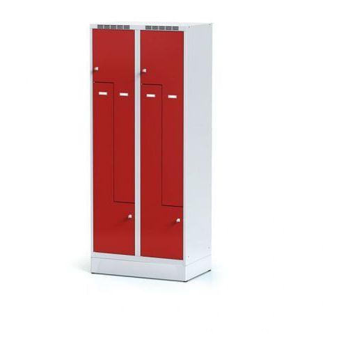 Szafka ubraniowa Z na cokole, drzwi czerwone, zamek obrotowy