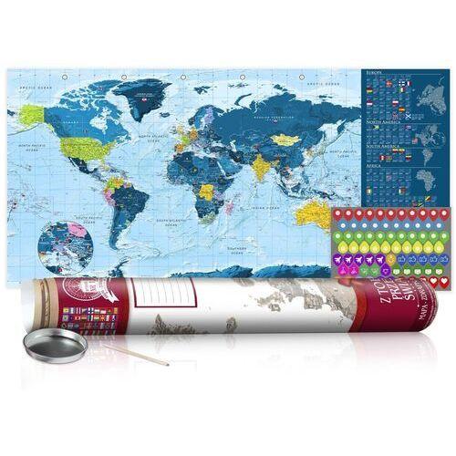 Mapa zdrapka - niebieska mapa - plakat (wersja angielska) marki Artgeist